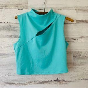 Guess mint mock neck sleeveless crop top L